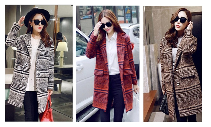 Long Thick Single Button Brand Design Plaid Wool Coats