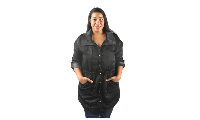 Wing Collared Button Down Midi Jacket with Adjustable Drawstring