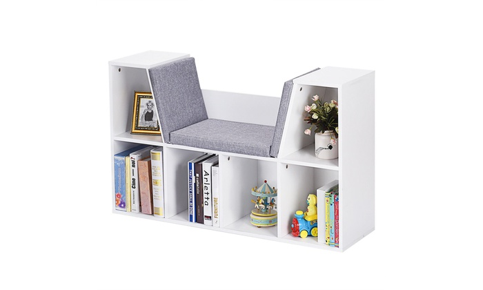 6 Cubby Kid Storage Cabinet Bookcase Multi Purpose Shelf Cushioned Reading Nook
