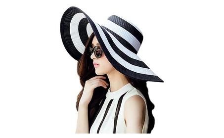 Womens Striped Straw Sun Hat Big Floppy Hat Foldable Roll up Big Brim 72641732-c5a2-4fc9-90df-dceab5adbc1c