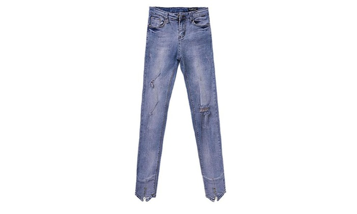 Women's Straight Leg Stylish Mid Rise Solid ButtonsUp Jeans