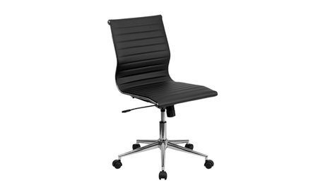 Mid-Back Armless Black Ribbed Upholstered Leather Swivel Conference Chair 2183b142-d992-455c-962d-511f9178255d