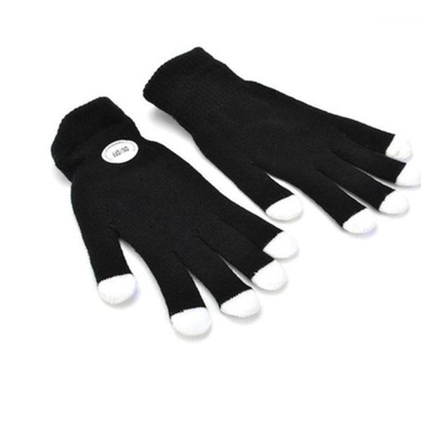 1 Pair LED Rave Flashing Gloves Glow 7 Mode Light Up Finger Lighting Kids-Black