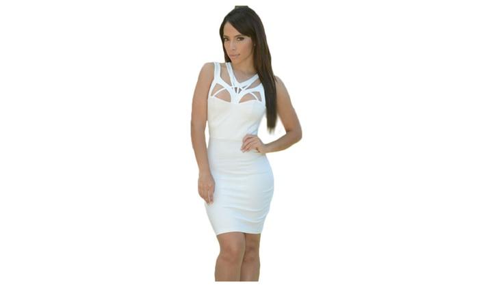 Women's White Sexy Shoulder Cutout Bodycon Dress - White / one size