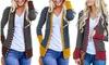 Women Striped Open Front Long Sleeve Jacket Tunics