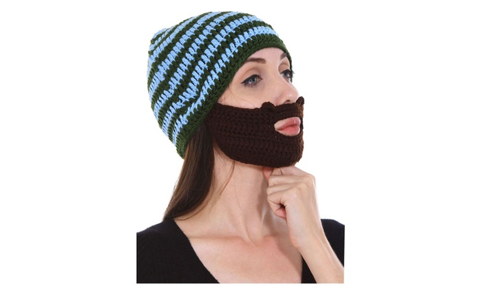 9b8f515cfa893 Adult Funny Crochet Knit Beard Beanie Ski Face Mask Cap