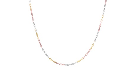"""Tri-Tone Sterling Silver 16"""" Cable Chain Necklace 93dae3c7-6a91-490c-8b5f-7ae5d5c1661a"""