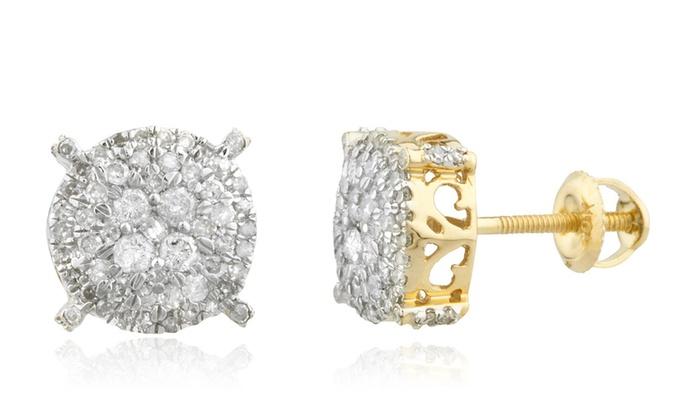 78d8ef313 Men's 10K Gold .50Ct Diamond Stud Earrings 8.4mm Round Cluster Studs ...