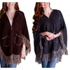 Hooded Poncho with Fringes and Stitched Detail