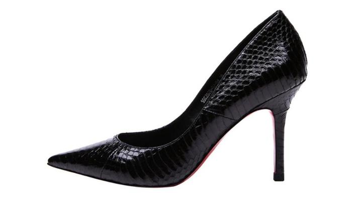 Women's Fashion Leather Slip on High Heels
