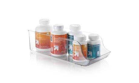 StorageBud Vitamin & Medication Clear Plastic Storage Organizer Bin with Handles