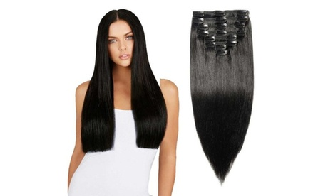 Real Human Hair Clip On Extensions - 22 inch (8 pcs)