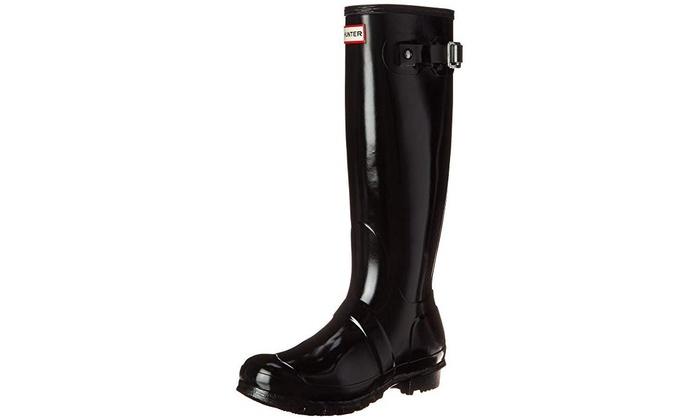67014b42cec0 Hunter Womens Original Tall Gloss Rain Boots - Black - Size 8   Groupon