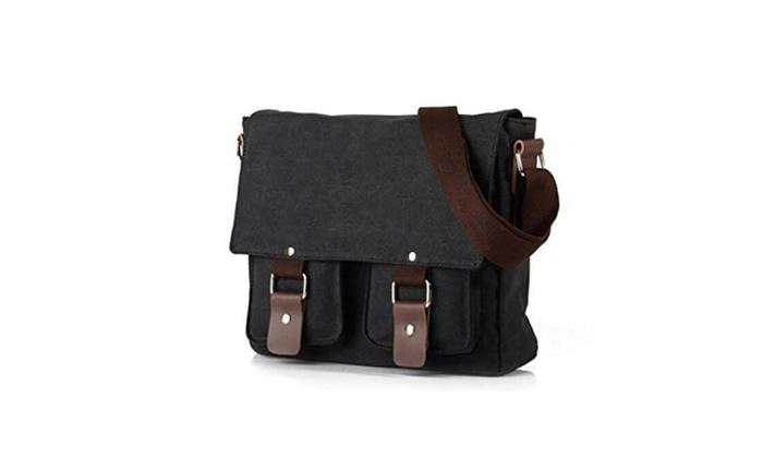 Vintage Canvas Shoulder School Bag Messenger Bag Cross Body Black - Black / one size