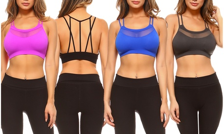 Style Clad Womens Seamless Mesh Panel Strappy Back Active Bralette e1530fbd-3279-4067-9b6e-cf9daf1a13cc