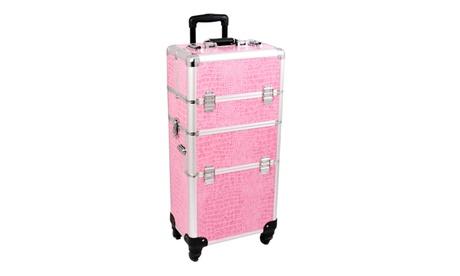 Sunrise Outdoor Travel Pink Crocodile Trolley Makeup Case - I3561 2cd737d8-074c-4135-a833-2c1dc4968ece