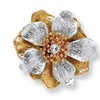Crystal Flower Stretch Ring in Silvertone and Yellow Gold Tone