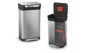Joseph Joseph Titan Stainless Steel Trash Can with Compaction System