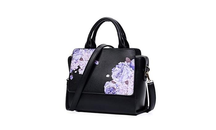 Women's floral print handbag tote PU leather handle bag