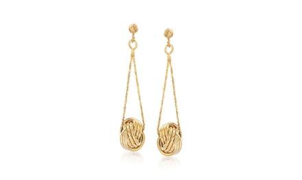 Dangling Mesh Knot Earrings in 14K Gold Was: $99.99 Now: $12.99