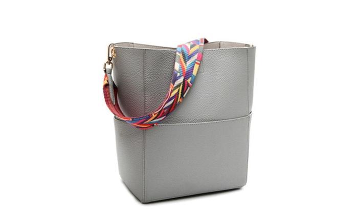 91ad0c711463 Women Designer Bucket bag Leather Wide Strap Shoulder bag Handbag ...