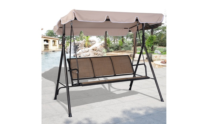 Up To 34 Off On 3 Person Outdoor Patio Swing Groupon Goods