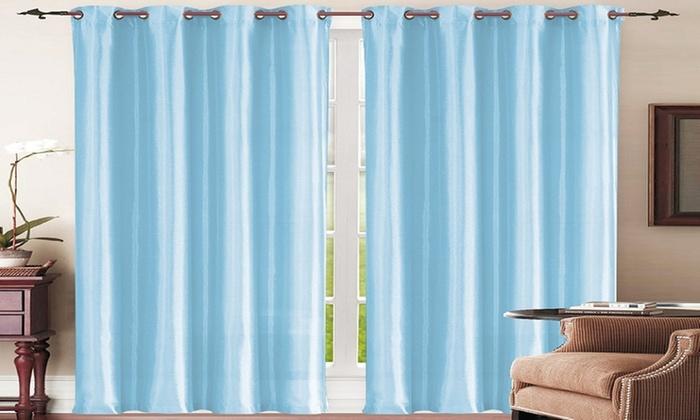 2 Pack Mira Faux Silk Grommet Curtain Panels 58 W 84 L