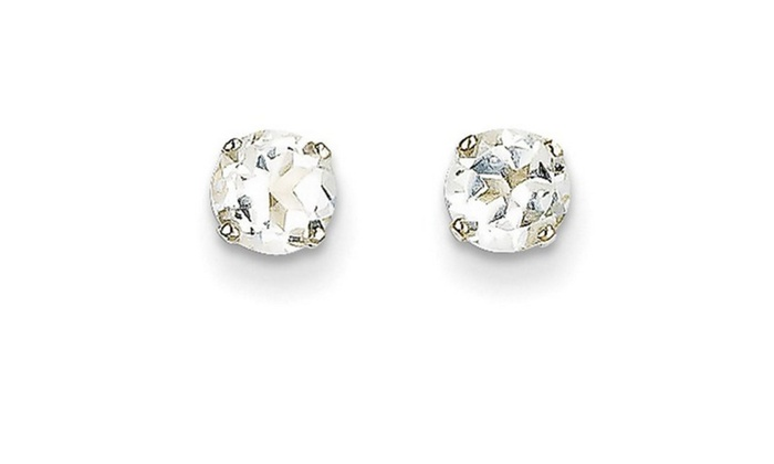 White Topaz 14kt Gold 5mm Stud Earrings
