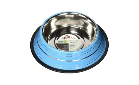Iconic Pet 51455 24 oz. Color Splash Stripe Non-Skid Pet Bowl - Blue cc1a7041-af8e-4d57-acc6-0b26d1d7a3f8
