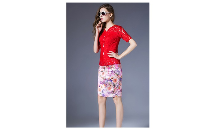 Women Short Sleeves Fit Waist Shirt and Blouse Red UWSB780