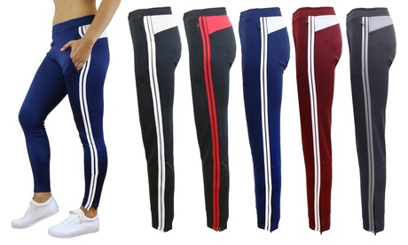 Women's Slim-Fit Striped Track Jogger Pants