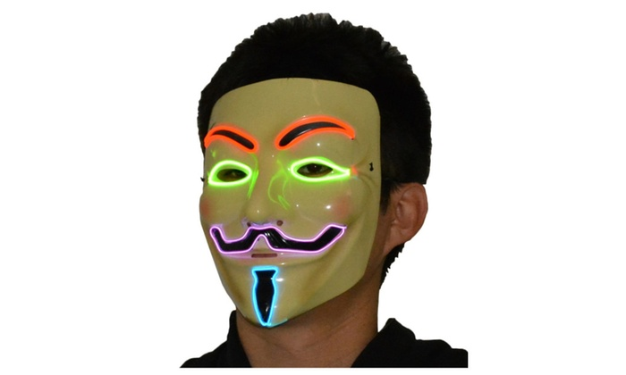 V for Vendetta Guy Fawkes LED Anonymous Rave Mask EL Wire | Groupon