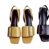 Low-heeled Sandals Thick Square Buckle Leather Ladies Sandals