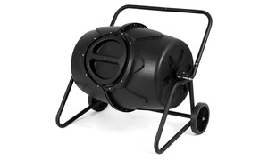 50 Gallon Wheeled Compost Tumbler Garden Waste Bin Barrel Fertilizer