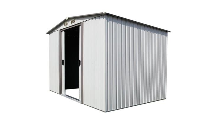 8u0027x8u0027 Garden Storage Shed All Weather Tool Utility Outdoor Patio,White