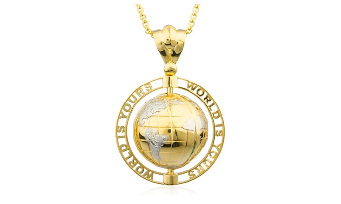 14k gold world is yours rotating globe pendant 24 round box 14k gold world is yours rotating globe pendant 24 round box chain aloadofball Image collections