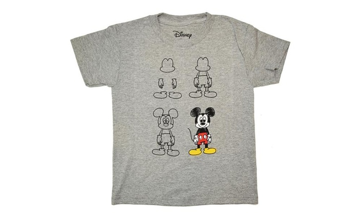 649c36fb4 Disney How To Draw Mickey Mouse Sketch Youth Kids T-shirt | Groupon