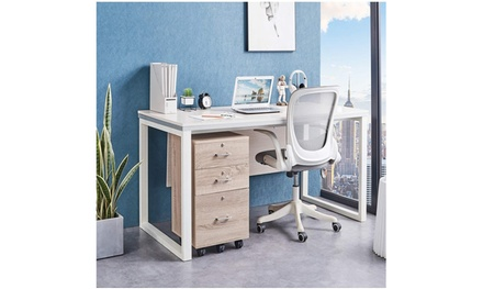 3-Drawer Rolling Wood File Cabinet with Lock