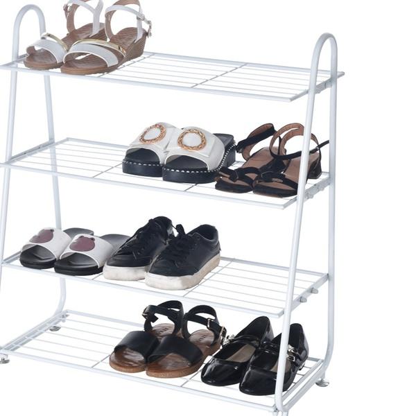 4-Tier Iron Mesh Utility Shoe Rack Shoes Stainless Organizer Shelf Storage White