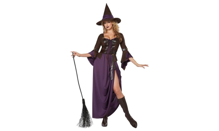 Salem Witch Sexy High-Slit Dress w/Vest Hat size S 6/8 California