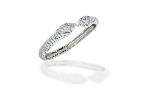 Bling Jewelry Snake Cuff Bangle Simulated Ruby CZ Eyes Rhodium Plated 8c465b6a-c8ee-4ddc-87a3-cb650c34fddc