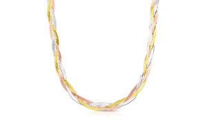 "18"" Braided Herringbone Necklace in Silver with Tri Color Plating"
