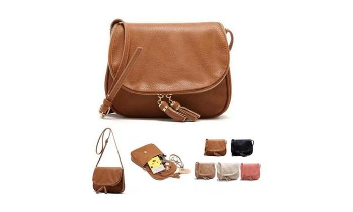 Tassel Women Bag Leather Handbags Cross-Body Shoulder Bags
