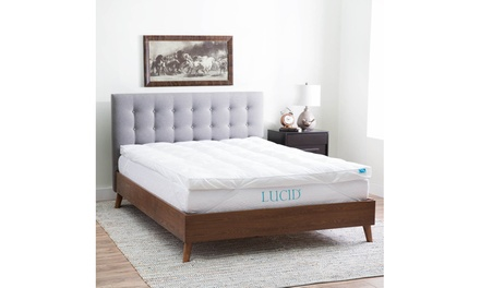 "Lucid 3"" Plush Down Alternative Fiber Bed Mattress Topper"