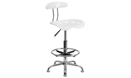 Vibrant Chrome Drafting Stool with Tractor Seat 83f7f8dd-44ef-4615-9d72-55f15c62d557