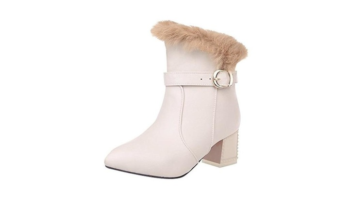 Women's Red Sole  Cony Hair Warm Mid Heel Winter Boots