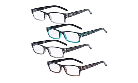 4-Pack Spring Hinge Fashion Readers Quality Reading Glasses Women