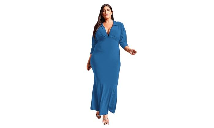 Womens Blackrednavy Blue Plus Size Collared Deep V Maxi Dress