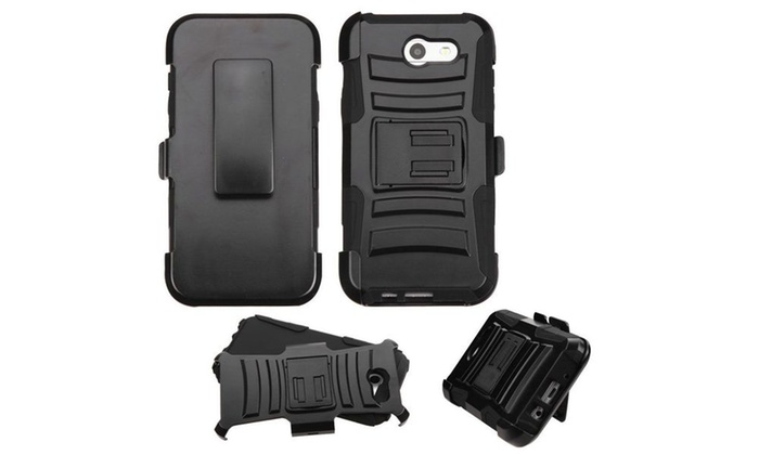 Groupon Goods: For Samsung Galaxy J3(2017) Black Advanced Armor Stand Shockproof Holster Case