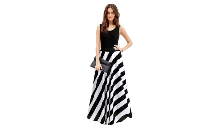 Women Summer White Black Stripe Tank Maxi Dress